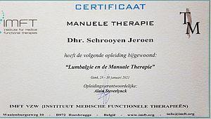 Certificaat Lumbalgie